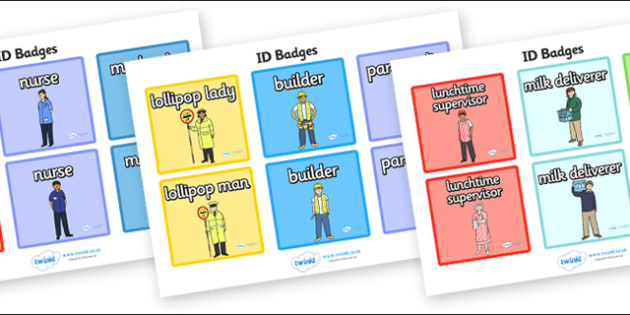 People Who Help Us Role Play Badges - People Who Help Us, role play, badge, badges, tag, label, role play, Doctor, Nurse, Teacher, Police, Fire fighter, Paramedic, Builder, Caretaker, Lollipop, Traffic Warden, Lunchtime supervisor, vet, postman