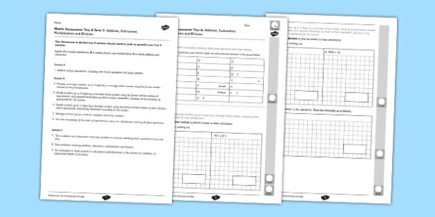 Year 6 Maths Assessment Term 2: Addition, Subtraction, Multiplication, Division - maths assessment, term 2, addition, subtraction, multiplication, division