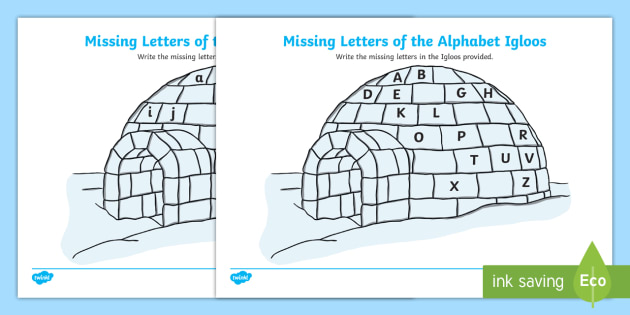 Missing Letters of the Alphabet Igloo Activity - Winter Resources, uppercase, lowercase, alphabet, language.