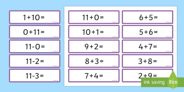 Number Bonds 11 Sentence Cards - number bonds, 11, sentence