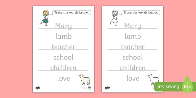 Mary Had A Little Lamb Trace The Words Worksheet