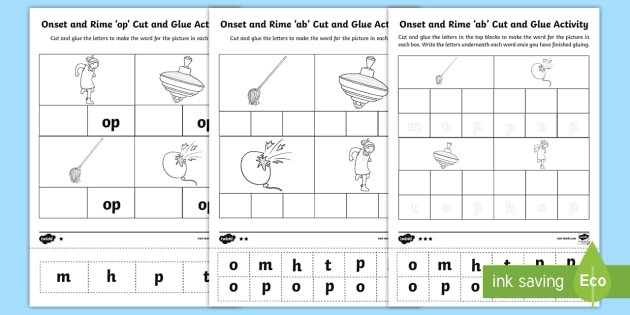 op Onset and Rime Differentiated Activity Sheets EYLF – Onset and Rime Worksheets