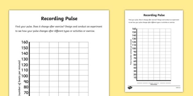 Recording Pulse Activity Sheet - recording pulse, activity, record, pulse, science, worksheet