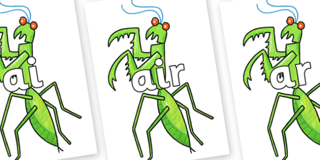 Phase 3 Phonemes on Praying Mantis to Support Teaching on The Bad Tempered Ladybird - Phonemes, phoneme, Phase 3, Phase three, Foundation, Literacy, Letters and Sounds, DfES, display