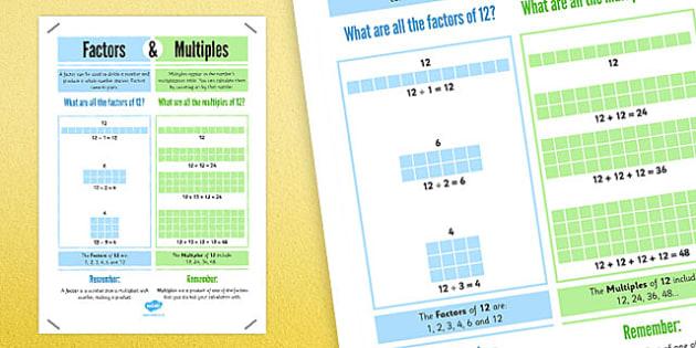 Factors and Multiples Display Poster 4xA4 - factors, multiples, display