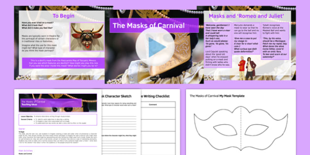 The Masks of Carnival Lesson Pack - Carnival, Lent, Writing, creative writing, KS 3, KS 4, Venice, Easter, writing prompts, paintings