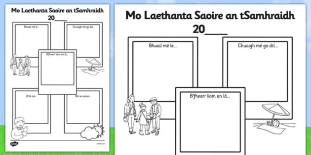 Summer Holiday Snapshots SEN Version Gaeilge - summer holiday, snapshots, sen