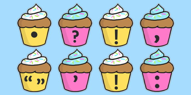 Punctuation Marks on Cupcakes - Punctuation, VCOP, flashcard, flashcards, writing aid, writing aids, ellipsis, comma, brackets, semicolon, colon,  full stop, capital letter, foundation stage literacy, letters and sounds, DfES, KS1