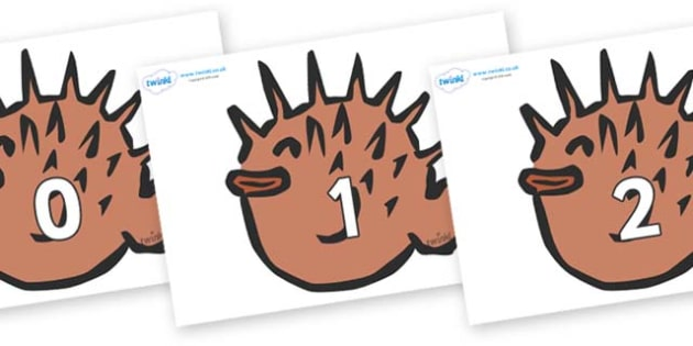 Numbers 0-50 on Puffer Fish - 0-50, foundation stage numeracy, Number recognition, Number flashcards, counting, number frieze, Display numbers, number posters