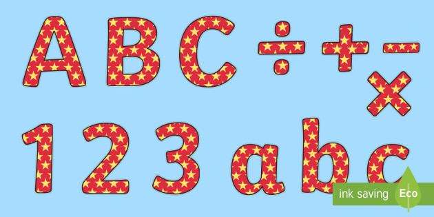 Red and Yellow Stars Small Lowercase Display Lettering - red and yellow stars, stars small lowercase display lettering, lowercase display lettering