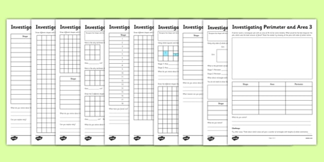 Perimeter and Area Activity Sheet Pack - perimeter, area, activity, sheets, worksheet