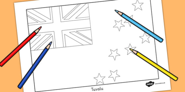 Tuvalu Flag Colouring Sheet - countries, geography, colour