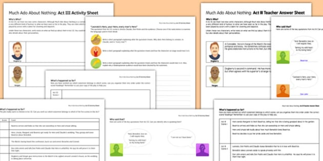 Much Ado About Nothing Act III Activity Sheet and Answers - much ado about nothing, act, activity, answers, worksheet