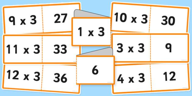 Tabla înmulțirii cu 3 - Cartonașe joc