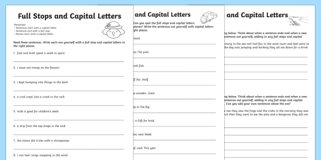 Capital Letters And Full Stops With Phase 4 Words Worksheet