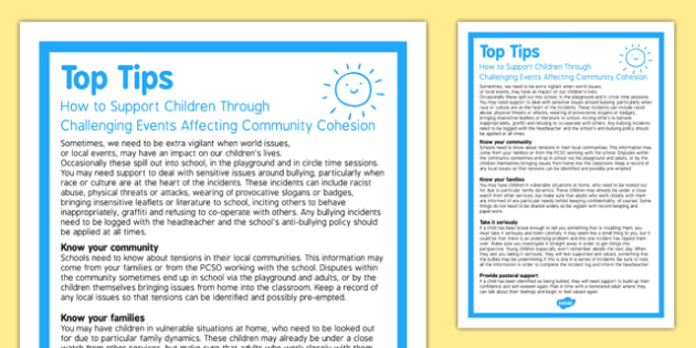 Some ideas to help you support children who may be experiencing difficulties as a result of National and local issues affecting community cohesion.