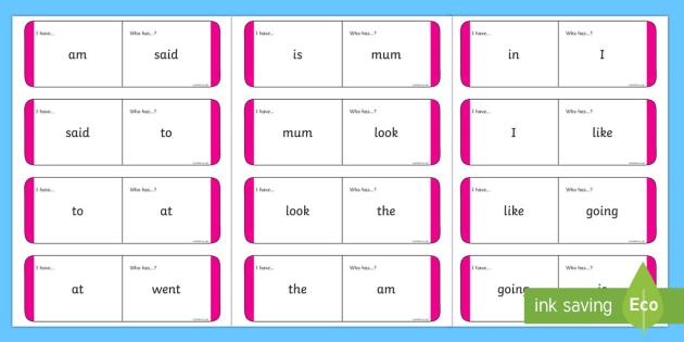 Sight Words Loop Cards - Magenta Loop Cards