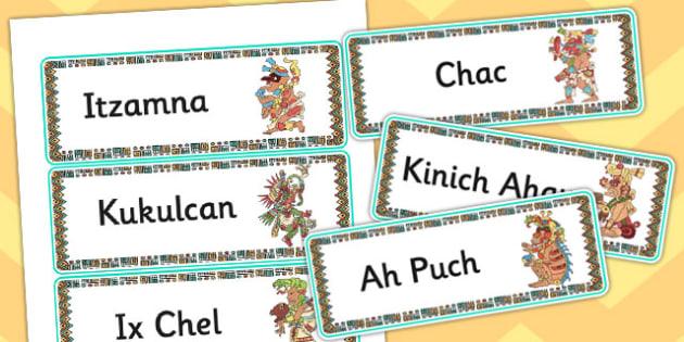Maya Gods Word Cards - mayans, mayan, ancient maya, keywords