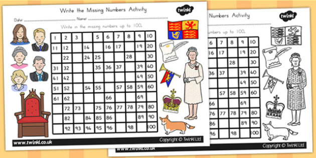 Royal Family Missing Numbers Number Square - queen, counting