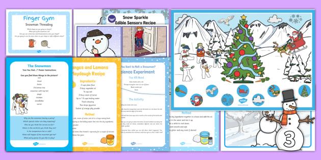 EYFS Childminder Resource Pack to Support Teaching on The Snowman - The Snowman, Raymond Briggs, Christmas, winter, snowmen, child minder, childminding,