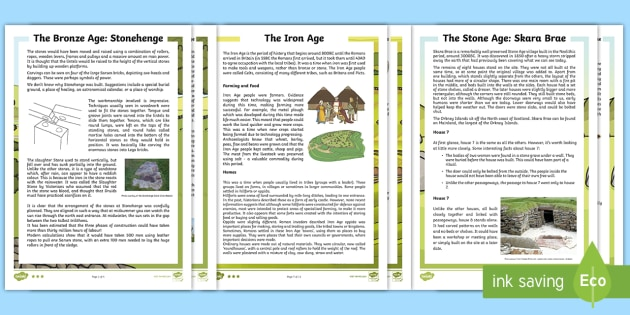 Stone Age to the Iron Age Differentiated Reading Comprehension Activity - reading, questions, historical, enquiry, prehistoric