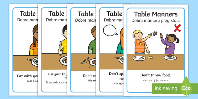 Table Manners Rules Display Posters English Polish Table
