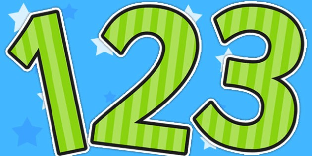 Green Striped Themed Display Numbers - display, numbers, stripe