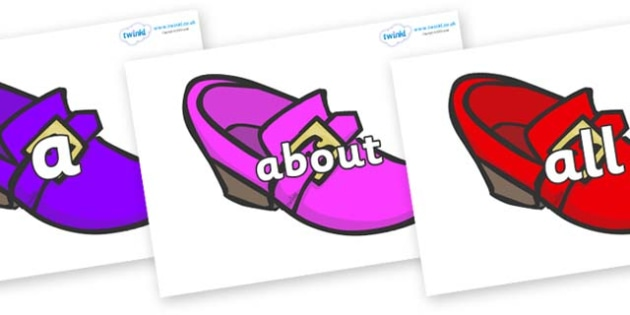 100 High Frequency Words on Shoes - High frequency words, hfw, DfES Letters and Sounds, Letters and Sounds, display words