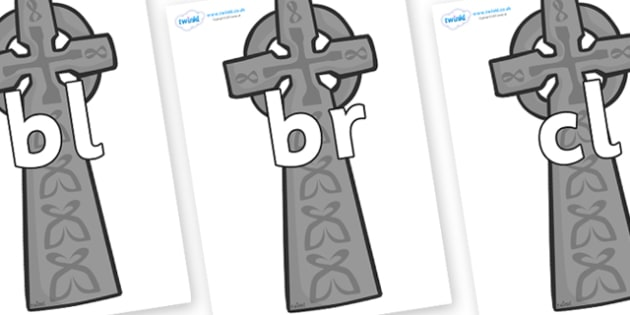Initial Letter Blends on Celtic Crosses - Initial Letters, initial letter, letter blend, letter blends, consonant, consonants, digraph, trigraph, literacy, alphabet, letters, foundation stage literacy