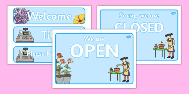 Florist Role Play Signs - Florist Role Play, florist, flower shop, flowers, bouquet, flower decorations, till, money, gifts, role play, display, poster