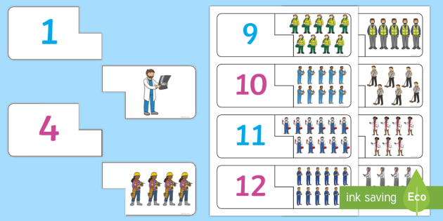 People Who Help Us Themed Counting Matching Puzzle - count, match