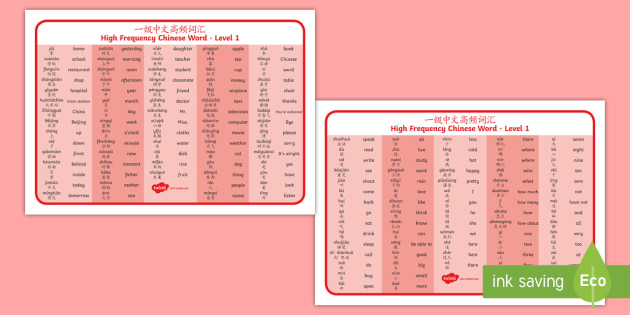 NEW * High Frequency Chinese Word Level 1 Word Mat English/Mandarin