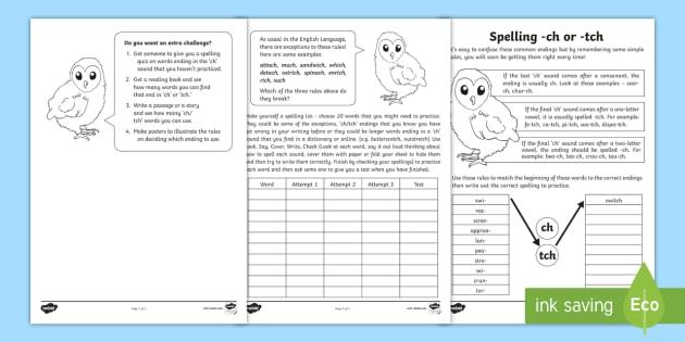 spelling 39 tch 39 and 39 ch 39 worksheet activity sheet spelling. Black Bedroom Furniture Sets. Home Design Ideas