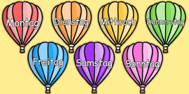 Days of the Week on Hot Air Balloons (Plain) German - german, days, week, hot air balloons