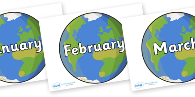 Months of the Year on Earth - Months of the Year, Months poster, Months display, display, poster, frieze, Months, month, January, February, March, April, May, June, July, August, September