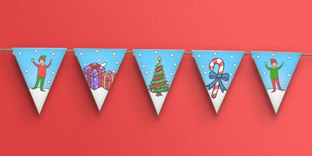 Elf Themed Bunting - bunting, display bunting, elf, christmas