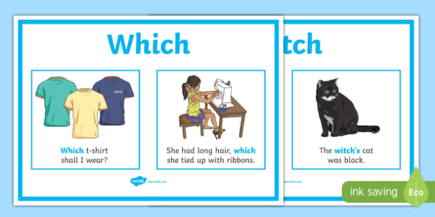 Which Witch Display Posters - which, witch, display, poster, sign, difference between which and witch, similar, tricky, explanation, help