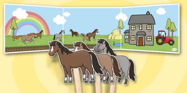 Horses and Ponies Small World Background and Stick Puppets - horse
