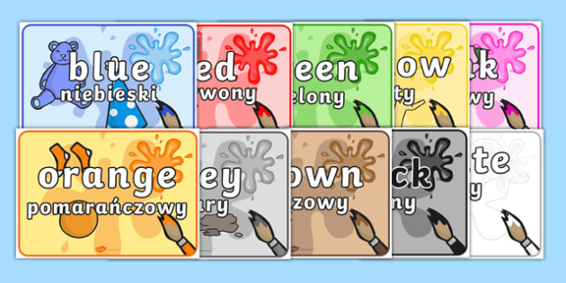 Colour Items Display Posters Polish Translation - red, orange, yellow, green, blue, ks1, eyfs, colour, art, visual, aid,