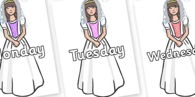 Days of the Week on Princesses - Days of the Week, Weeks poster, week, display, poster, frieze, Days, Day, Monday, Tuesday, Wednesday, Thursday, Friday, Saturday, Sunday