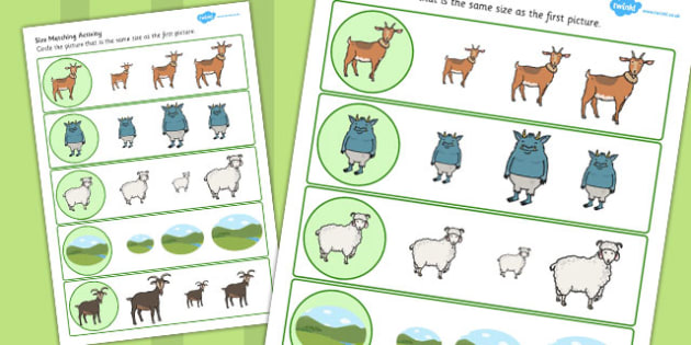 The Three Billy Goats Gruff Size Matching Worksheets - size, goat