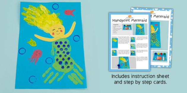 Handprint Mermaid Craft Instructions (Under the Sea) - sea, mermaids, hands