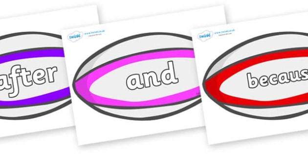 Connectives on Rugby Balls - Connectives, VCOP, connective resources, connectives display words, connective displays