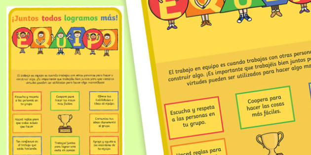 TEAM Large Motivational Poster KS2 Spanish