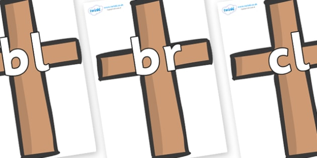 Initial Letter Blends on Crosses - Initial Letters, initial letter, letter blend, letter blends, consonant, consonants, digraph, trigraph, literacy, alphabet, letters, foundation stage literacy