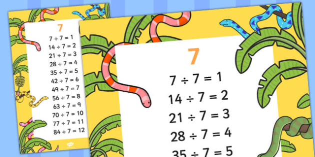 7 Times Table Division Facts Display poster - posters, displays