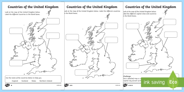 differentiated countries of the united kingdom labelling worksheet. Black Bedroom Furniture Sets. Home Design Ideas