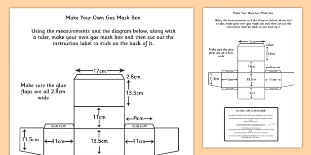 evacuation label template - world war two make your own gas mask box instructions and