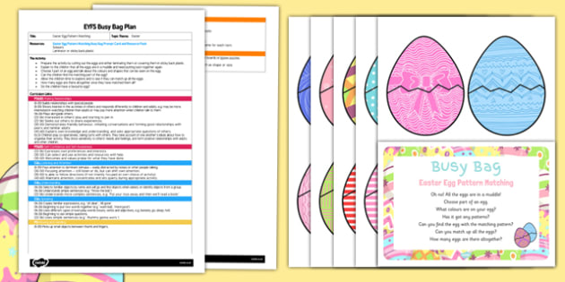 Easter Egg Pattern Matching EYFS Busy Bag Plan and Resource Pack - Easter, colour, patterns