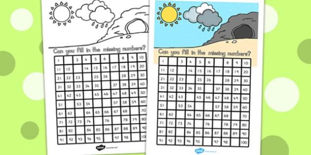 Winter Missing Numbers Number Square - counting, maths, count